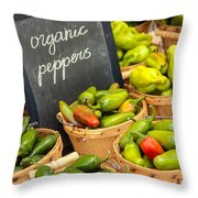 Organic Peppers at Farmers Market Throw Pillow by Teri Virbickis