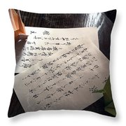 Origami And Calligraphy On Rice Paper Throw Pillow by Daniel Hagerman