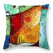 Original Abstract Pop Art Style Colorful Landscape Painting Home To Tuscany By Megan Duncanson Throw Pillow by Megan Duncanson