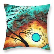 Original Bold Colorful Abstract Landscape Painting FAMILY JOY II by MADART Throw Pillow by Megan Duncanson