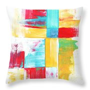 Original Bold Colorful Abstract Painting Patchwork By Madart Throw Pillow by Megan Duncanson