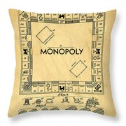 Original Patent For Monopoly Board Game Throw Pillow by Edward Fielding