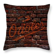 Orioles Baseball Graffiti On Brick  Throw Pillow by Movie Poster Prints