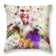 Oscar De La Hoya Throw Pillow by Aged Pixel