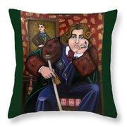 Oscar Wilde And The Picture Of Dorian Gray Throw Pillow by Victoria De Almeida