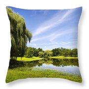 Otsiningo Park Reflection Landscape Throw Pillow by Christina Rollo