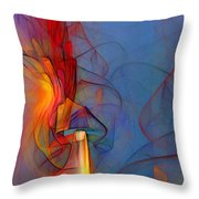 Out Of The Blue-abstract Art Throw Pillow by Karin Kuhlmann