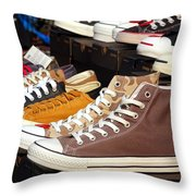 Outdoor Vendor Sells Canvas Shoes Throw Pillow by Yali Shi