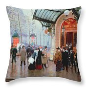 Outside The Vaudeville Theatre Throw Pillow by Jean Beraud