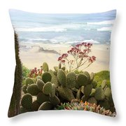 Overlooking San Elijo Beach Throw Pillow by Ann Patterson