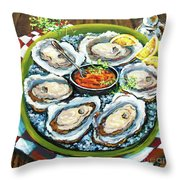Oysters on the Half Shell Throw Pillow by Dianne Parks