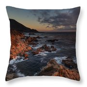 Pacific Coast Golden Light Throw Pillow by Mike Reid