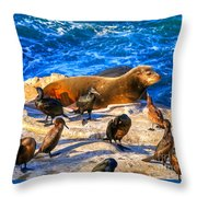 Pacific Harbor Seal Throw Pillow by Jim Carrell
