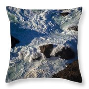 Pacific Ocean Against Rocks Throw Pillow by Garry Gay