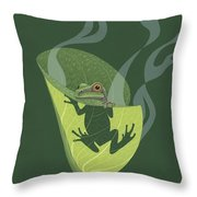 Pacific Tree Frog In Skunk Cabbage Throw Pillow by Nathan Marcy