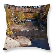 Packard Hill Bridge Lebanon New Hampshire Throw Pillow by Edward Fielding