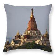 Pagoda In Bagan, Upper Burma Myanmar Throw Pillow by Chris Caldicott