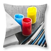 Paintbrushes With Canvas Throw Pillow by Elena Elisseeva