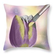 Painting A Tulip Throw Pillow by Amanda Elwell