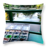 Painting In Giverny Throw Pillow by Olivier Le Queinec