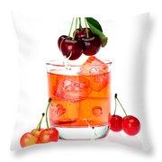 Painting On Sweet Cherries Miniature Art Throw Pillow by Paul Ge