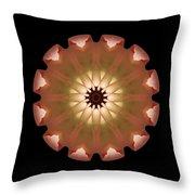 Pale Pink Tulip Flower Mandala Throw Pillow by David J Bookbinder