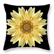 Pale Yellow Gerbera Daisy I Flower Mandala Throw Pillow by David J Bookbinder