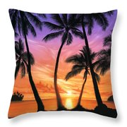 Palm Beach Sundown Throw Pillow by Andrew Farley