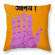 Palm Reading Sign In Rishikesh Throw Pillow by Robert Preston