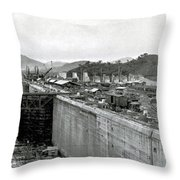 Panama Canal Construction 1910 Throw Pillow by Photo Researchers