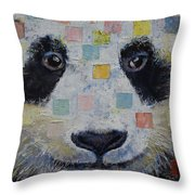 Panda Checkers Throw Pillow by Michael Creese