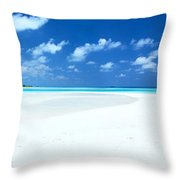 Panorama of deserted sandy beach and island Maldives Throw Pillow by Matteo Colombo