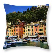 Panorama Of Portofino Harbour Italian Riviera Throw Pillow by David Smith
