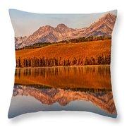 Panoramic Of Little Redfish Lake Throw Pillow by Robert Bales