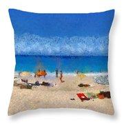Panoramic Painting Of Porto Katsiki Beach Throw Pillow by George Atsametakis