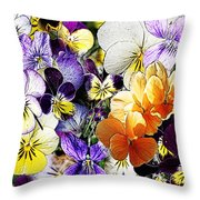 Pansy Posy Throw Pillow by Erica Hanel
