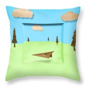 Paper Airplanes of Wood 11 Throw Pillow by Yo Pedro