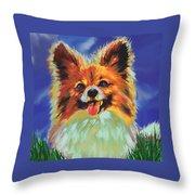 Papillion Puppy Throw Pillow by Jane Schnetlage