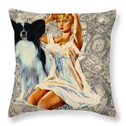 Papillon Art - Una Parisienne Movie Poster Throw Pillow by Sandra Sij