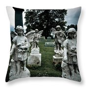 Parade Of Angels Statues At Cemetery Throw Pillow by Amy Cicconi