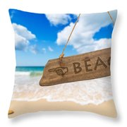 Paradise Beach Sign Algarve Portugal Throw Pillow by Amanda Elwell