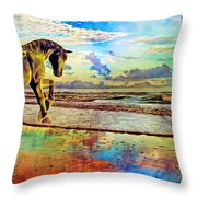 Paradise Sunset Throw Pillow by Betsy Knapp