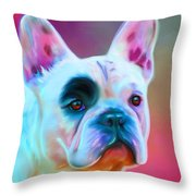 Vibrant French Bull Dog Portrait Throw Pillow by Michelle Wrighton