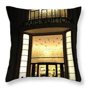 Paris Louis Vuitton Boutique Store Front - Paris Night Photo Louis Vuitton - Champs Elysees  Throw Pillow by Kathy Fornal