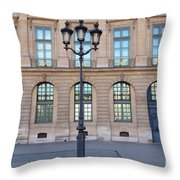 Paris Place Vendome Street Architecture Blue Doors And Street Lamps  Throw Pillow by Kathy Fornal