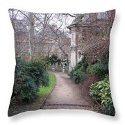 Paris Romantic Parks - Luxembourg Gardens - Medici Fountain Park - Pathway To Luxembourg Gardens Throw Pillow by Kathy Fornal