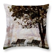 Park Benches Square Throw Pillow by Carol Leigh