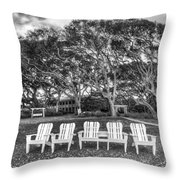 Park under the Oaks Throw Pillow by Debra and Dave Vanderlaan