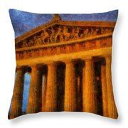 Parthenon On A Stormy Day Throw Pillow by Dan Sproul