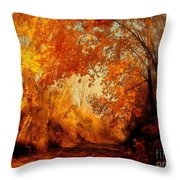 Path Of Gold Throw Pillow by Tami Quigley